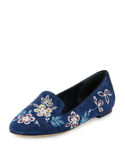Tory Burch Embroidered Suede Smoking Slipper