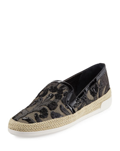 Donald J Pliner Pamela Embellished Canvas Slip-On Flat