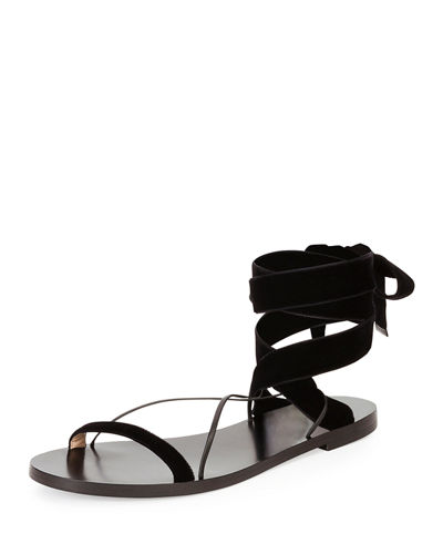 Velvet Lace-Up Flat Sandal