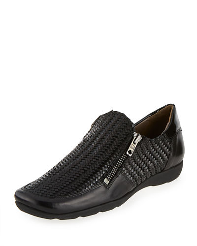 Ganice Woven Zip-Up Sneaker, Black