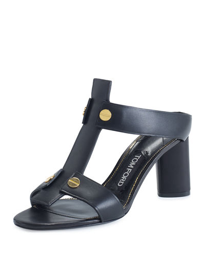 Leather T-Strap 65mm Slide Sandal