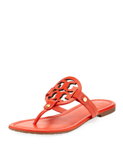Tory Burch Miller Leather Logo Flat Slide Sandal