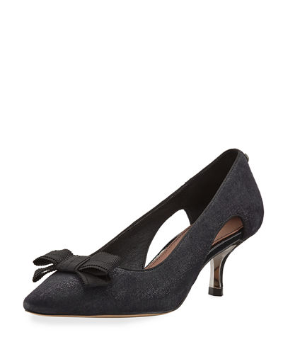 Dova Cutout Bow Kitten-Heel Pump