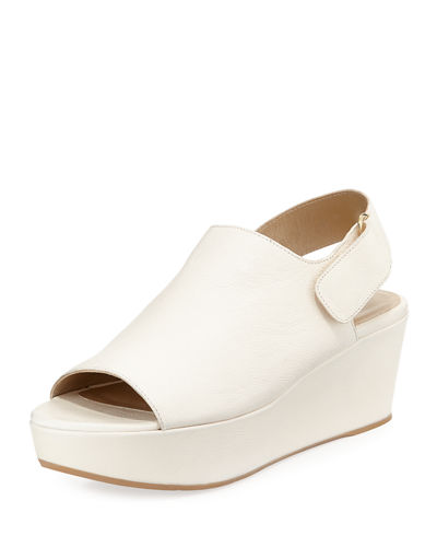 Offset Leather Peep-Toe Wedge