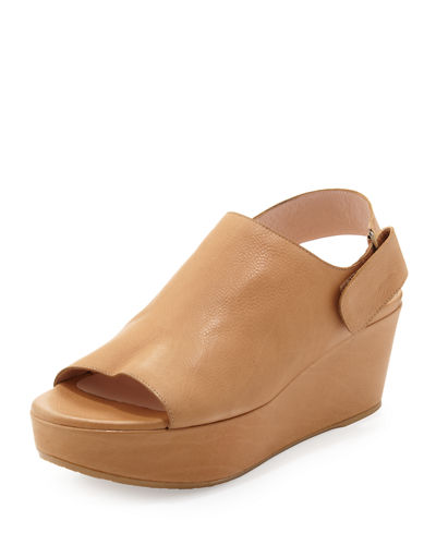 Offset Leather Wedge Sandal