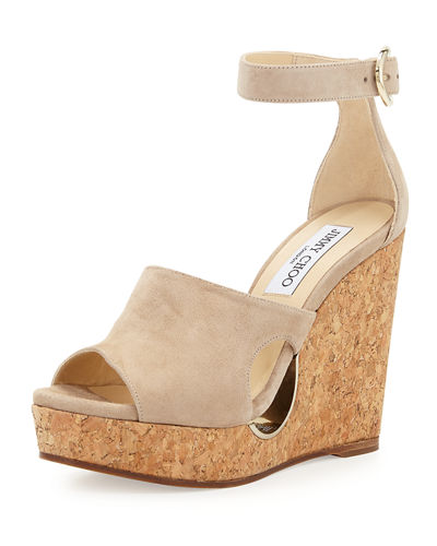 Neyo Suede/Cork Ankle-Wrap Wedge Sandal