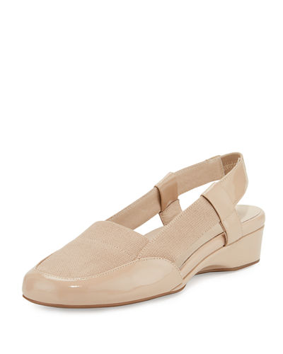 Kamillie Patent Demi-Wedge Pump, Nude