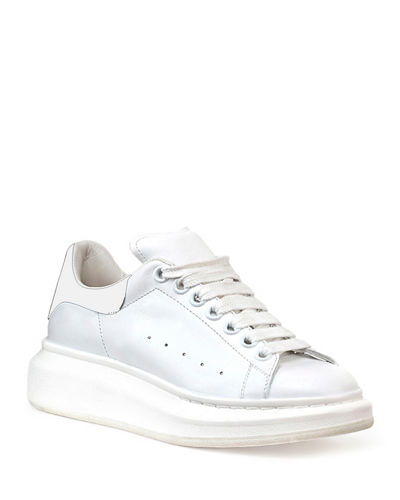 Leather Lace-Up Platform Sneaker, White/Black