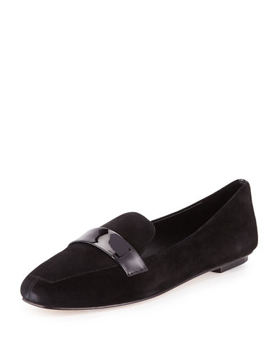 Delman Fab Patent-Strap Suede Loafer