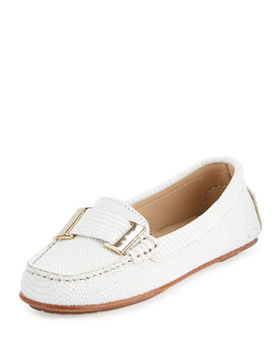 Renna Lizard-Embossed Ornament Loafer