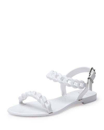 Chain Jelly Flat Sandal, Nude Pink