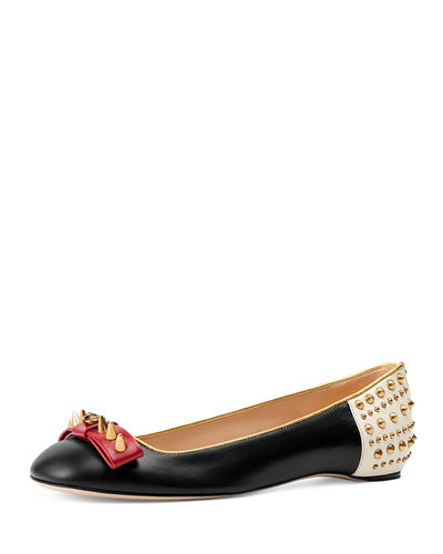 Gucci Lexi Studded Leather Ballerina Flat