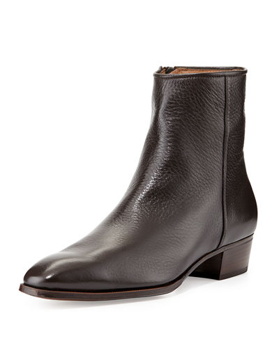 Gravati Leather Side-Zip Ankle Boot