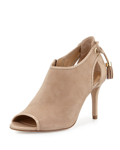 Jennings Suede Bow-Back Mid-Heel Bootie
