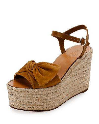 Tropical Bow Espadrille Wedge Sandal