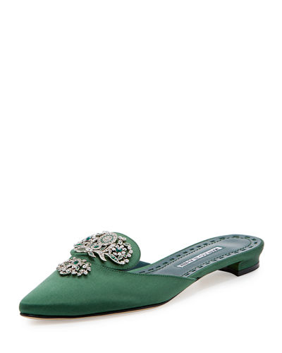 Manolo Blahnik Giralmufa Jeweled Satin Mule Flat