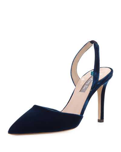 Bliss Velvet 90mm Slingback Pump