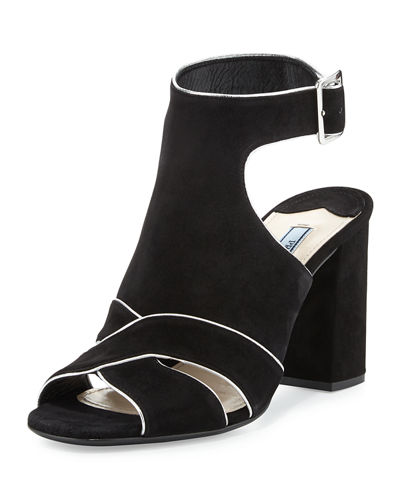 Suede Cutout Ankle-Wrap Sandal, Black
