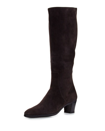 Suede Side-Zip Knee Boot