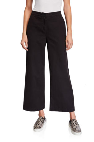 Eileen Fisher Petite Stretch Cotton Canvas Wide-Leg Ankle Pants