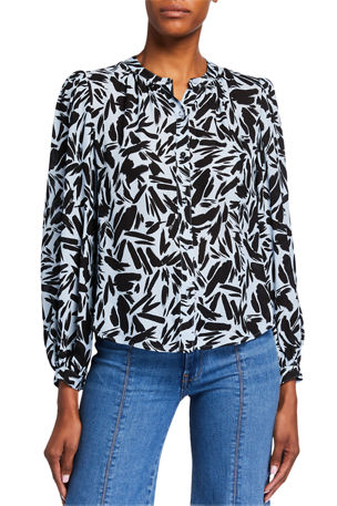 Veronica Beard Ashlynn Printed Long-Sleeve Blouse
