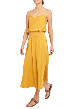 Theory Ribbed-Waistband Sleeveless Midi Dress
