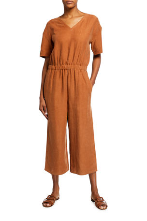 Eileen Fisher Slub V-Neck Short-Sleeve Jumpsuit