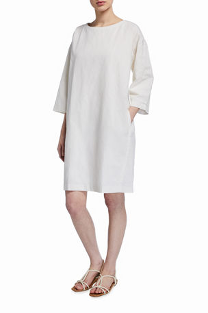 Eileen Fisher Organic Cotton Steel Bateau-Neck 3/4-Sleeve Dress