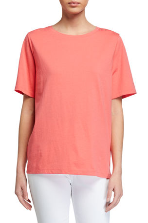 Eileen Fisher Organic Cotton Jersey Short-Sleeve Crewneck Tee