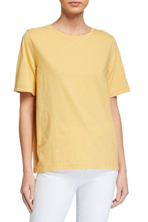 Eileen Fisher Striped Organic Cotton Short-Sleeve Crewneck Tee