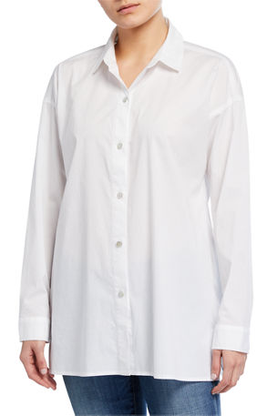Eileen Fisher Plus Size Collared Cotton Lawn Swing Top