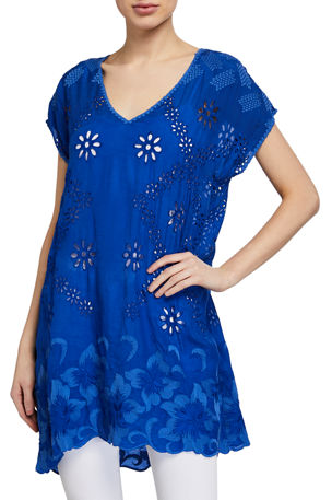 Johnny Was Venetia Short-Sleeve Tonal Embroidered Tunic