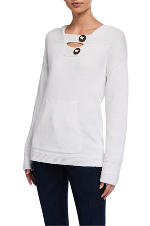 Pure & Co Pullover Hoodie with Coconut Buttons