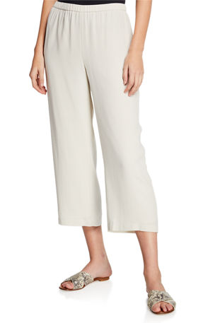 Eileen Fisher Cropped Silk Georgette Straight-Leg Pants
