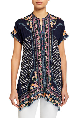 Johnny Was Moji Embroidered Short-Sleeve Tunic