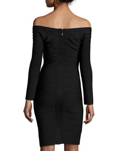 Off-the-Shoulder Long-Sleeve Bandage Dress
