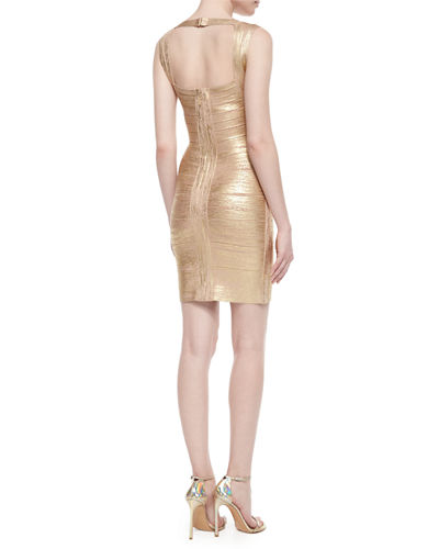 Crisscross Metallic Bandage Dress