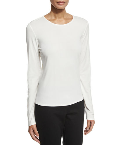 Long-Sleeve Silk Crewneck Tee, Plus Size