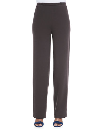 Knit Flat-Front Straight-Leg Pants