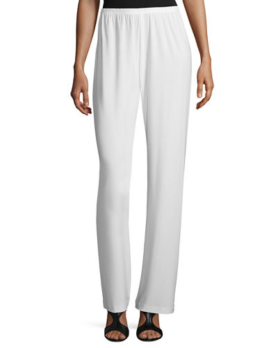 Caroline Rose Stretch-Knit Straight-Leg Pants, Petite