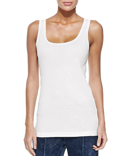 XCVI Basic Slim Cotton Tank, White