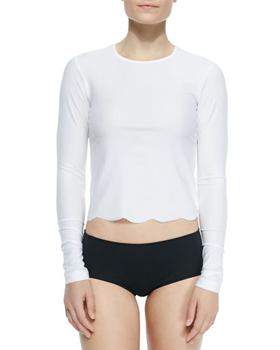 UPF 50 Scallop-Cut Long-Sleeve Swim Tee