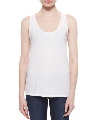 Johnny Was Collection Scoop-Neck Cotton Tank, White