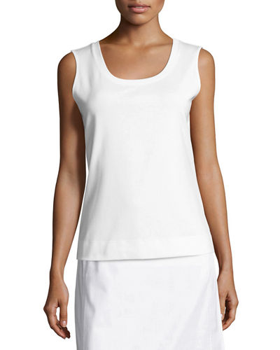 Scoop-Neck Sleeveless Cotton Tee, Plus Size