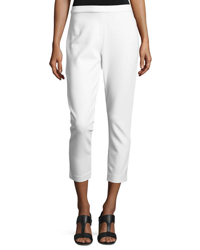 Joan Vass Ponte Slim Ankle Pants