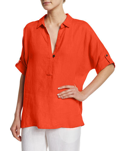 Oversized Short-Sleeve Linen Tunic, Plus Size