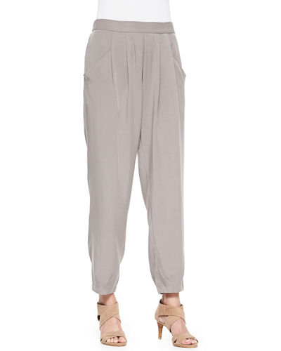 Slouchy Twill Ankle Pants, Petite