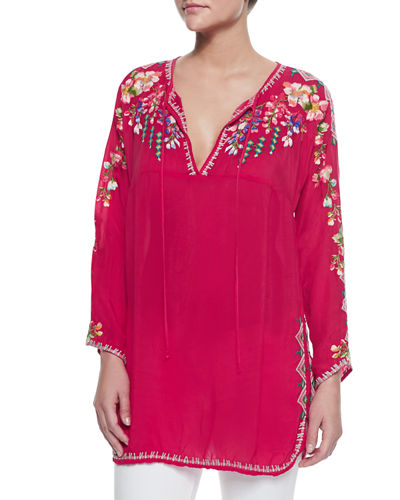 Johnny Was Collection Vanessa Georgette Embroidered Tunic, Plus