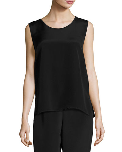 Caroline Rose Long Silk Crepe Tank, Plus Size