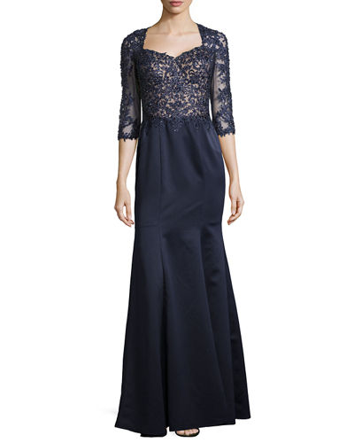 Beaded Lace & Satin Ball Gown, Navy